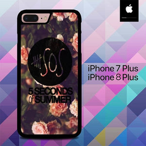5 Seconds Of Summer On Classic Floral On Pink O3431 hoesjes iPhone 7 Plus , iPhone 8 Plus
