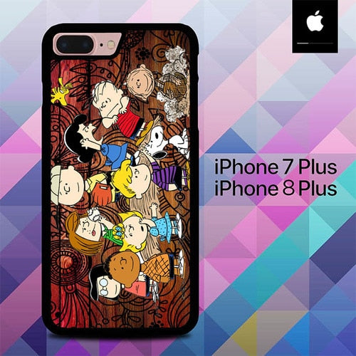 Peanuts In Background Wood Art O3497 hoesjes iPhone 7 Plus , iPhone 8 Plus