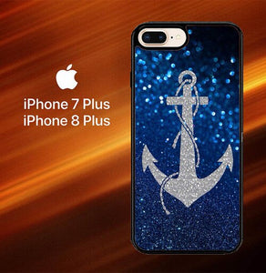 Blue Glitters Anchor O3520 hoesjes iPhone 7 Plus , iPhone 8 Plus