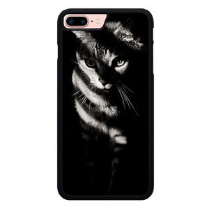 Cat in black and white O7434 hoesjes iPhone 7 Plus , iPhone 8 Plus