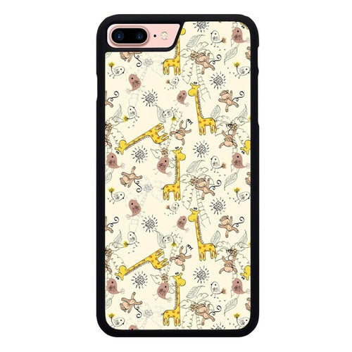 Friends of monkeys and giraffes O7446 hoesjes iPhone 7 Plus , iPhone 8 Plus