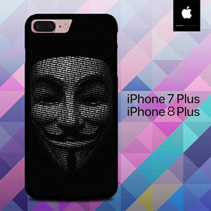 Guy Fawkes Mask Anonymous  O7583 hoesjes iPhone 7 Plus , iPhone 8 Plus
