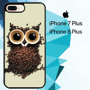 Coffee owl hoesjes iPhone 7 Plus , iPhone 8 Plus