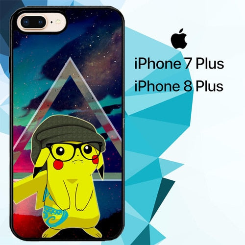 Hipster Pikachu Z3422 hoesjes iPhone 7 Plus , iPhone 8 Plus