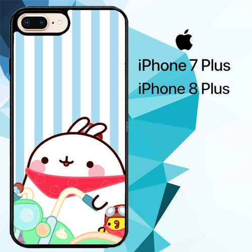 Molang Cartoon Z3652 hoesjes iPhone 7 Plus , iPhone 8 Plus