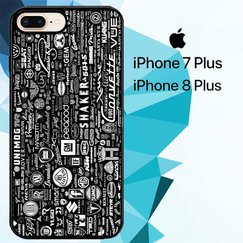 Car Logo pattern Z4785 hoesjes iPhone 7 Plus , iPhone 8 Plus
