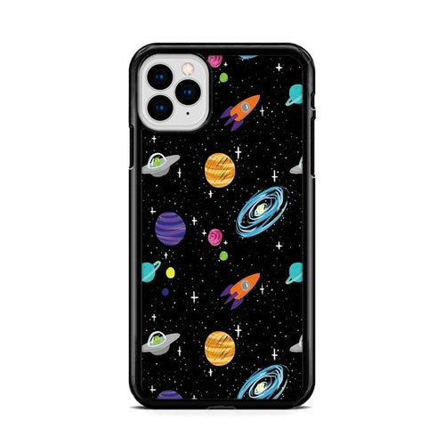 Space Cartoon Aliens Rocket Ships Planets Galaxy iPhone 11 Pro Max hoesjes