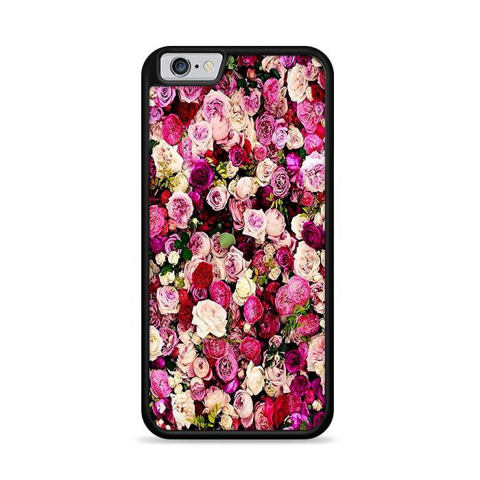 Rose Flower Pattern Wallpaper iPhone 6 Plus | iPhone 6S Plus hoesjes