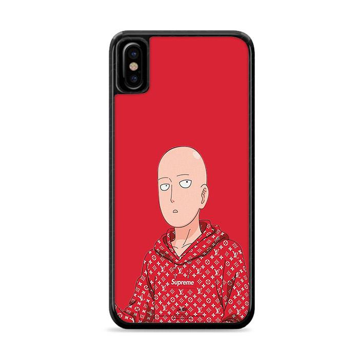 Saitama One Punch Man Red Hypebeast iPhone XS hoesjes
