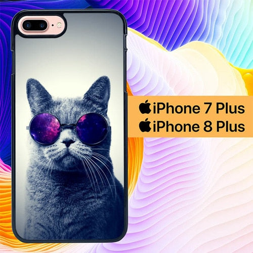 Awesome Cat L0017 hoesjes iPhone 7 Plus , iPhone 8 Plus