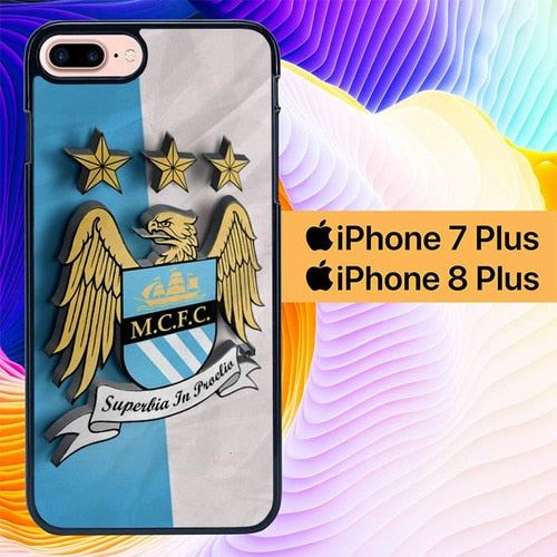 Manchester City Logo L0184 hoesjes iPhone 7 Plus , iPhone 8 Plus