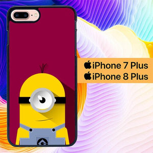 Minion Purple Background L0206 hoesjes iPhone 7 Plus , iPhone 8 Plus
