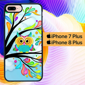 Owl Blue Wallpaper L0231 hoesjes iPhone 7 Plus , iPhone 8 Plus