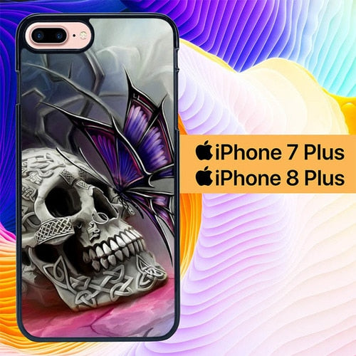 Skull With Butterfly L0259 hoesjes iPhone 7 Plus , iPhone 8 Plus