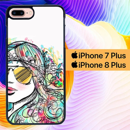Girl Watercolor L0360 hoesjes iPhone 7 Plus , iPhone 8 Plus