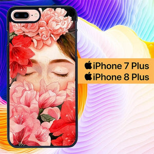 Girl With Flower L0361 hoesjes iPhone 7 Plus , iPhone 8 Plus