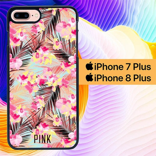 Tropical Flower Pink L0450 hoesjes iPhone 7 Plus , iPhone 8 Plus
