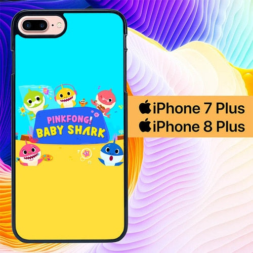 Baby Shark Pink Fong L0476 hoesjes iPhone 7 Plus , iPhone 8 Plus