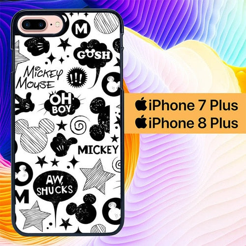 Mickey Stickers L0532 hoesjes iPhone 7 Plus , iPhone 8 Plus