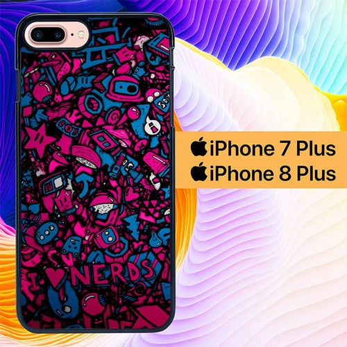 Sticker Nerds Digital Art L0569 hoesjes iPhone 7 Plus , iPhone 8 Plus