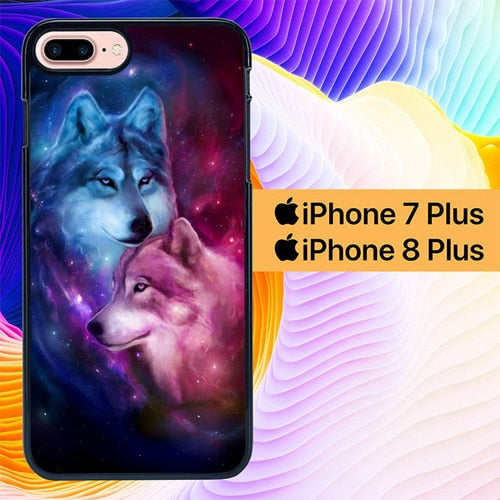 Wolf Painting L0655 hoesjes iPhone 7 Plus , iPhone 8 Plus