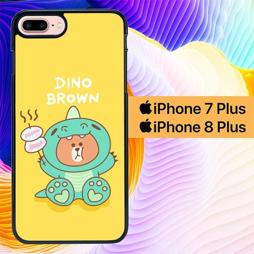 Dino Brown L0716 hoesjes iPhone 7 Plus , iPhone 8 Plus