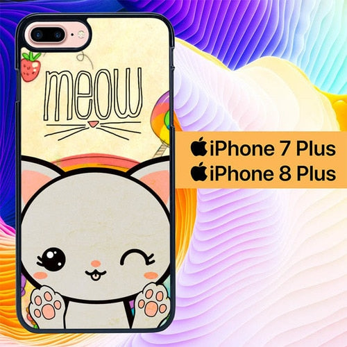 Meow Cat Wallpaper L0727 hoesjes iPhone 7 Plus , iPhone 8 Plus