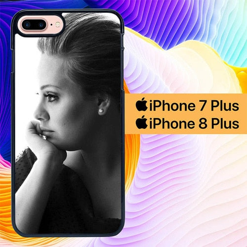 Adele Black White L1104 hoesjes iPhone 7 Plus , iPhone 8 Plus