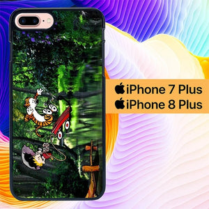 Calvin and Hobbes Play Comic Strip Jump L1219 hoesjes iPhone 7 Plus , iPhone 8 Plus