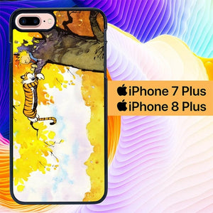 Calvin and Hobbes Play Comic Strip Sleep L1220 hoesjes iPhone 7 Plus , iPhone 8 Plus