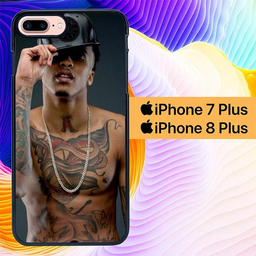 August Alsina Kissin On My Tattoos L1379 hoesjes iPhone 7 Plus , iPhone 8 Plus