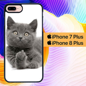 Finger British Shorthair Cat L1412 hoesjes iPhone 7 Plus , iPhone 8 Plus