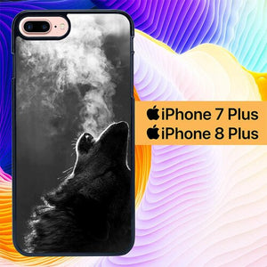 Wolf Howling Smoke L1500 hoesjes iPhone 7 Plus , iPhone 8 Plus
