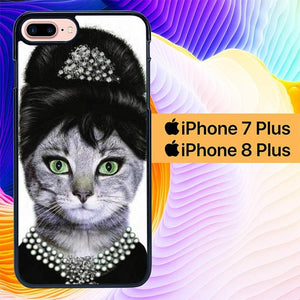 Audrey Hepburn Cat L1867 hoesjes iPhone 7 Plus , iPhone 8 Plus