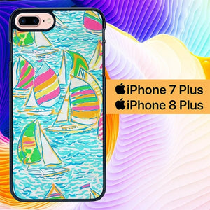 Lilly Pulitzer Sailboat L1919 hoesjes iPhone 7 Plus , iPhone 8 Plus