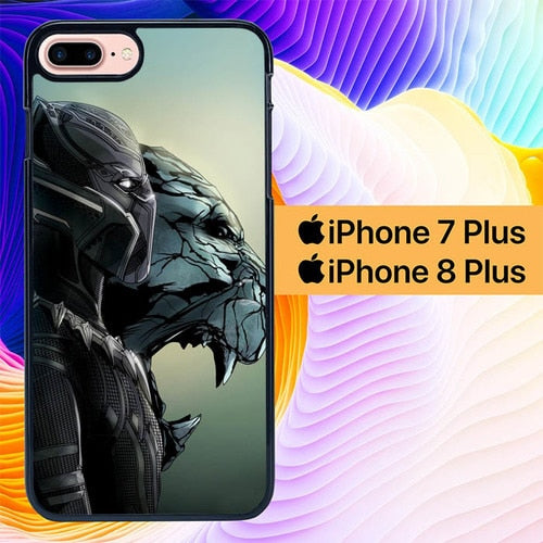Black Panther Vector L2765 hoesjes iPhone 7 Plus , iPhone 8 Plus