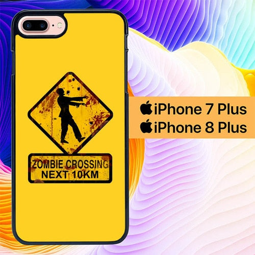 Zombie Crossing Sign L2803 hoesjes iPhone 7 Plus , iPhone 8 Plus