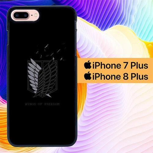 Attack on Titan Logo Wings L3095 hoesjes iPhone 7 Plus , iPhone 8 Plus