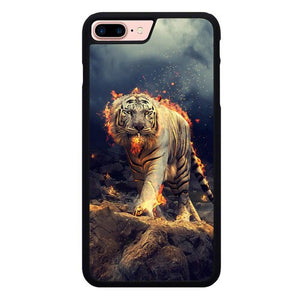 Tiger With Fire P1841 hoesjes iPhone 7 Plus , iPhone 8 Plus