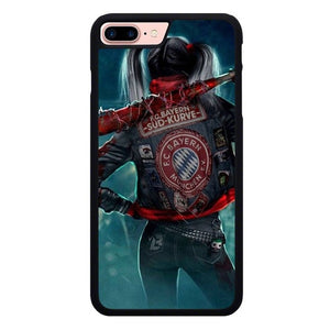 Harley Quinn With FC Bayern Munchen Jacket P1886 hoesjes iPhone 7 Plus , iPhone 8 Plus