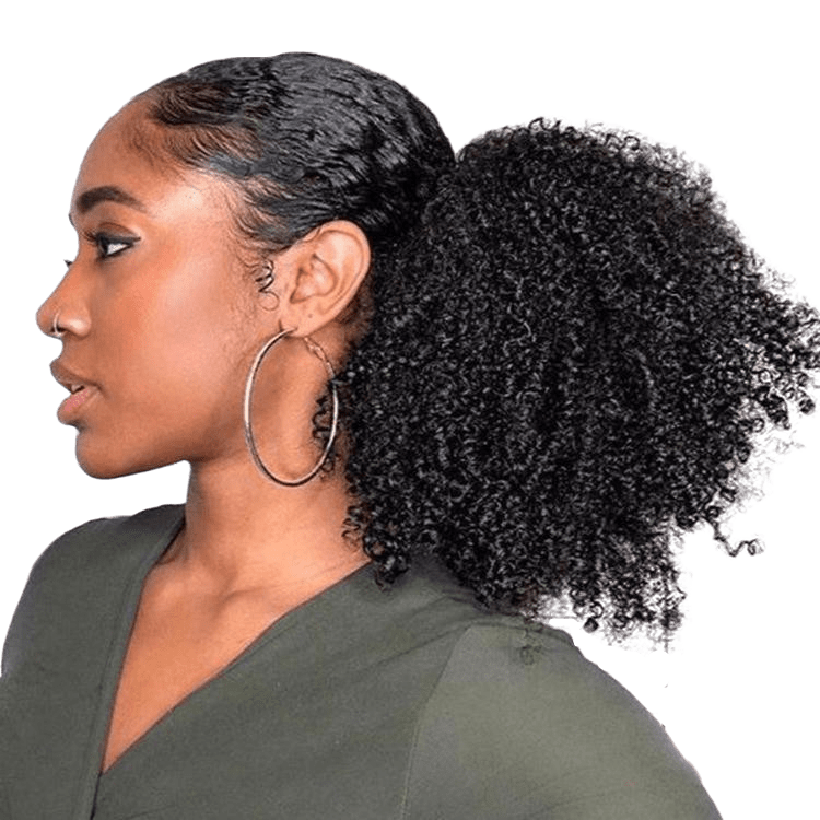 femme portant un ponytail queue de cheval kinky curly