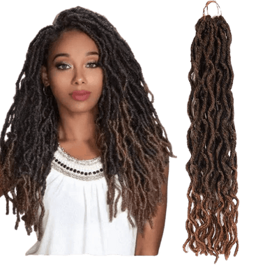 femme portant des fausses locks crochet