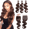 femme portant un Tissage Brésilien Body Wave Chocolat Avec Top Closure