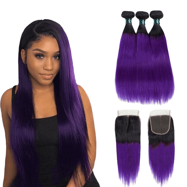 Tissage Violet Naturel (3 Paquets + Closure)