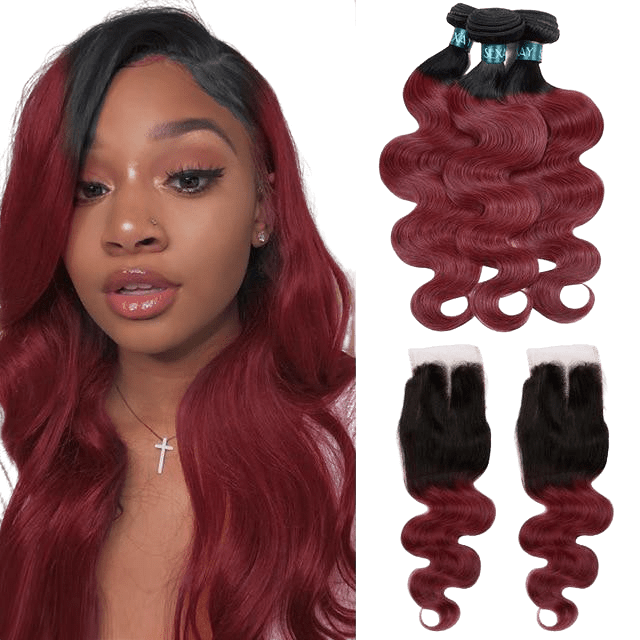 bundle de tissages rouge bordeaux avec une top closure