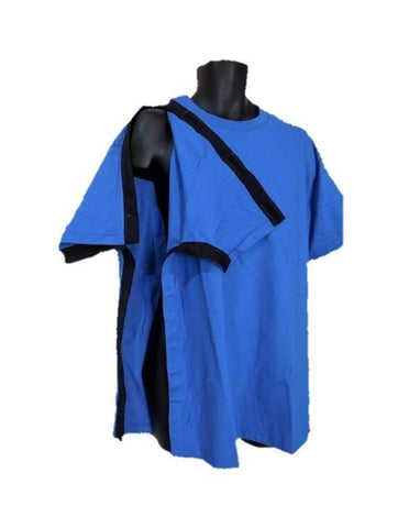 SIDE OPEN TSHIRT for POST OP SHOULDER or ARM SURGERIES - ROYAL BLUE