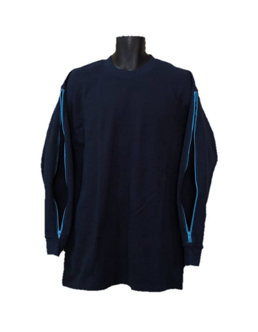 PICC LINE THERMAL SHIRT DIALYSIS CHEMO - NAVY BLUE - Blue Zip