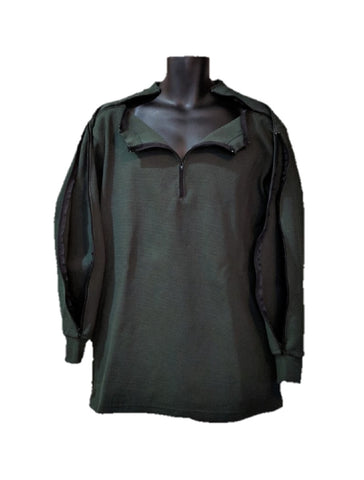 PICC LINE THERMAL SHIRT DIALYSIS CHEMO - HUNTER - Black Zip