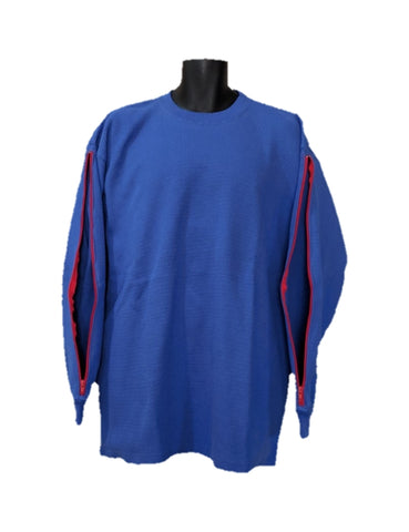 PICC LINE THERMAL SHIRT DIALYSIS CHEMO - ROYAL BLUE - Red Zip