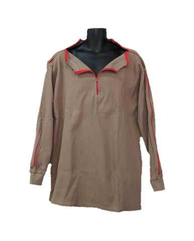 PICC LINE THERMAL SHIRT DIALYSIS CHEMO - KHAKI - Red Zip